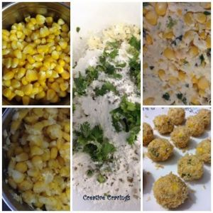 corn cheese ball ingre collage